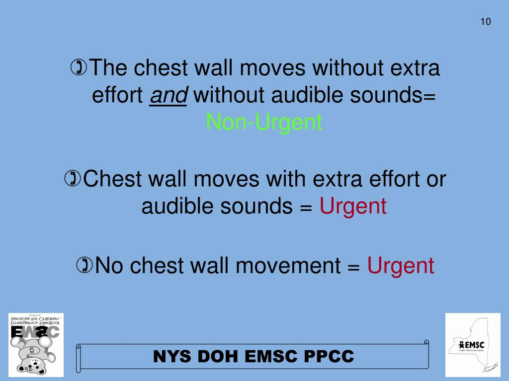 The chest wall moves without extra effort