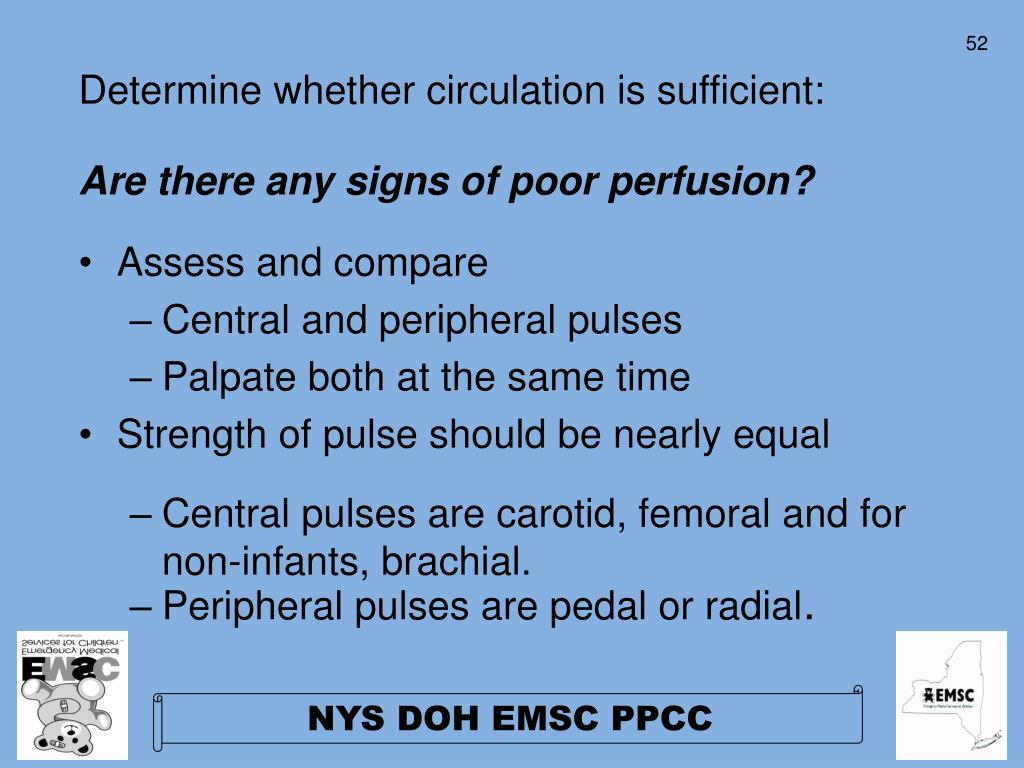 Determine whether circulation is sufficient: