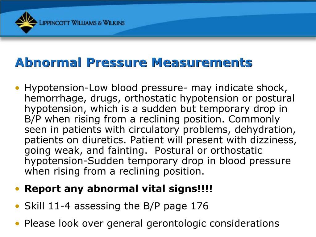 Abnormal Pressure Measurements