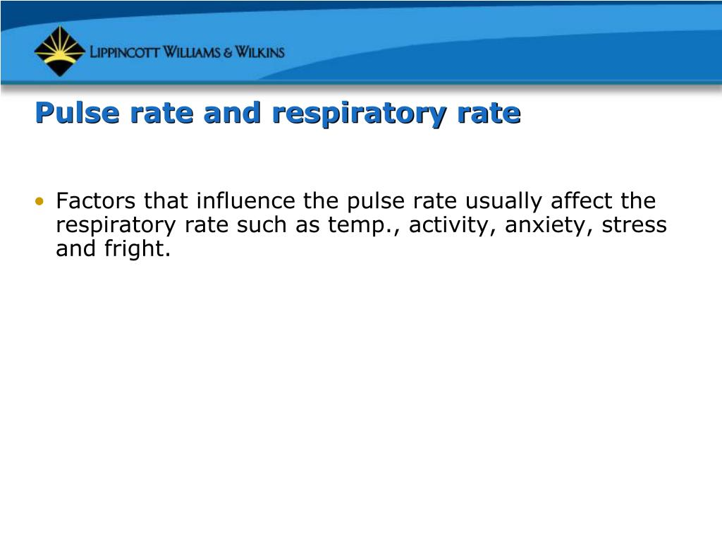Pulse rate and respiratory rate