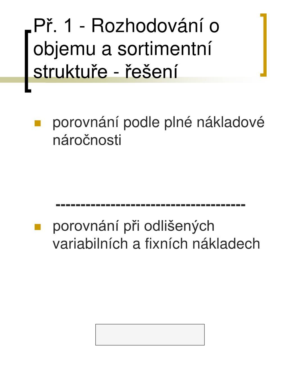 Př. 1 - Rozhodování o objemu a sortimentní struktuře - řešení