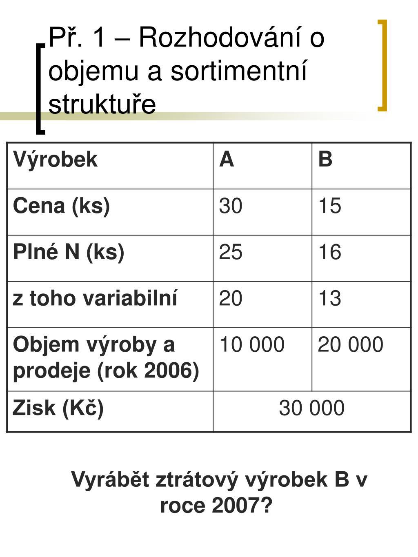 Př. 1 – Rozhodování o objemu a sortimentní struktuře