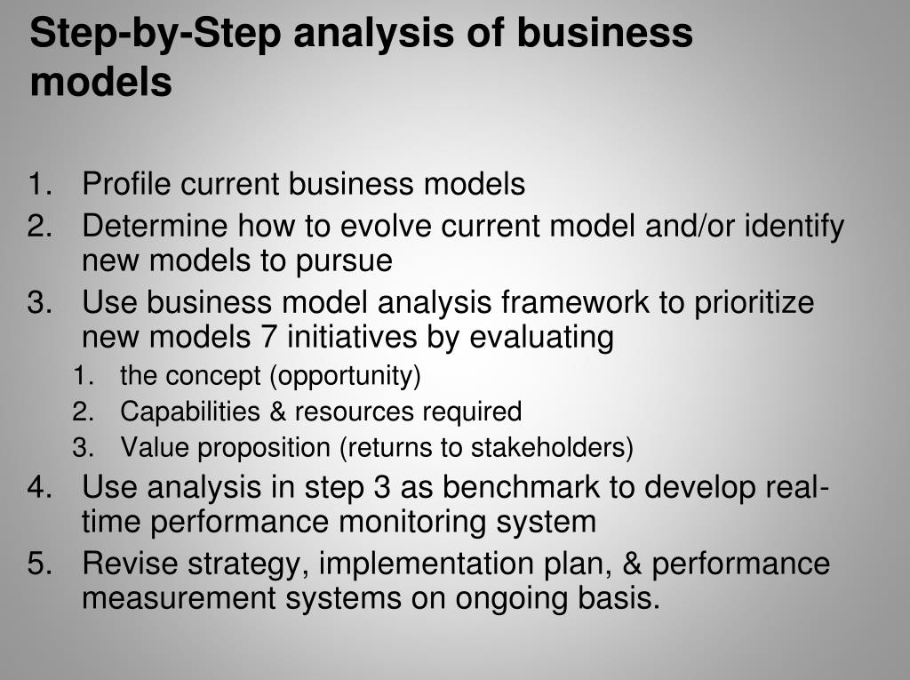 Step-by-Step analysis of business models