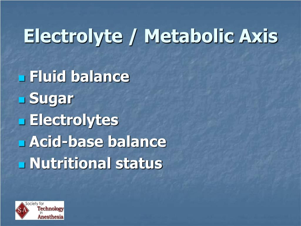 Electrolyte / Metabolic Axis