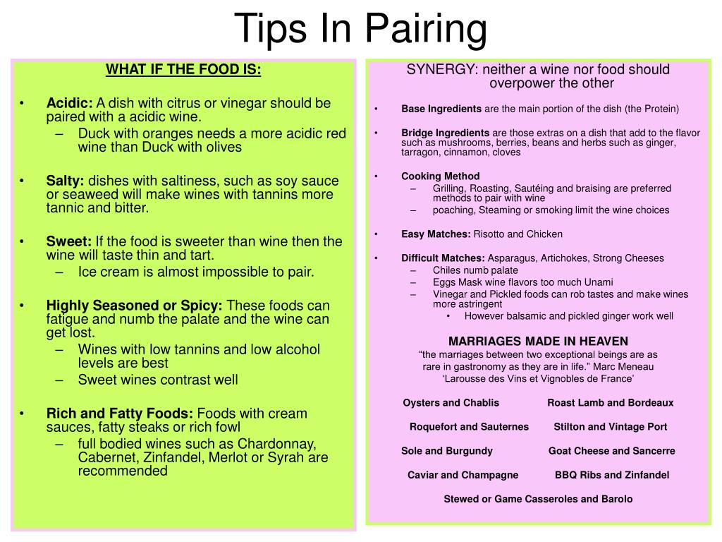 Tips In Pairing