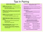 tips in pairing