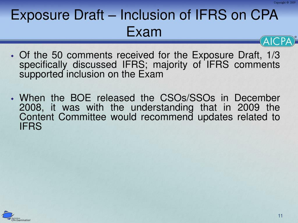 Exposure Draft – Inclusion of IFRS on CPA Exam