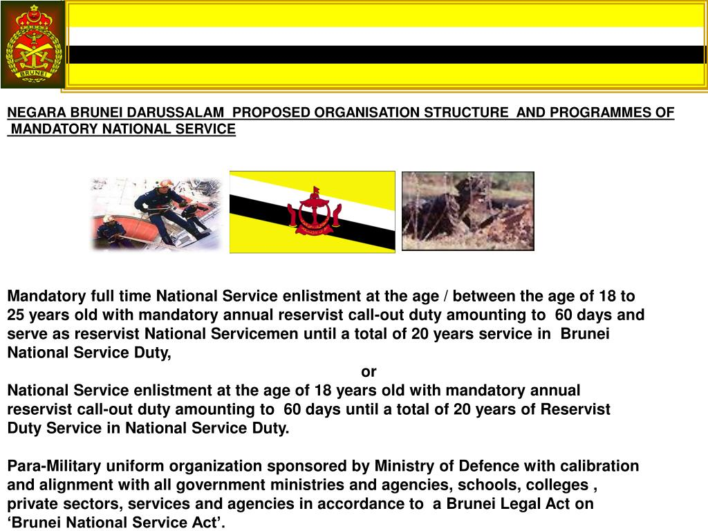 NEGARA BRUNEI DARUSSALAM  PROPOSED ORGANISATION STRUCTURE  AND PROGRAMMES OF
