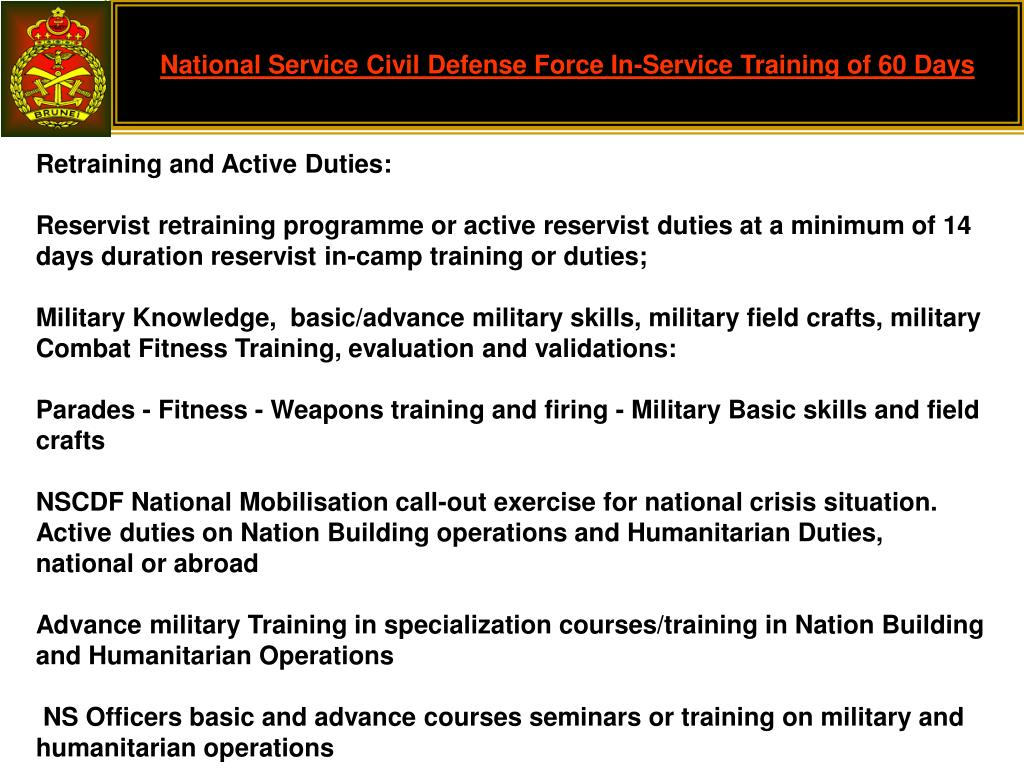 National Service Civil Defense Force In-Service Training of 60 Days