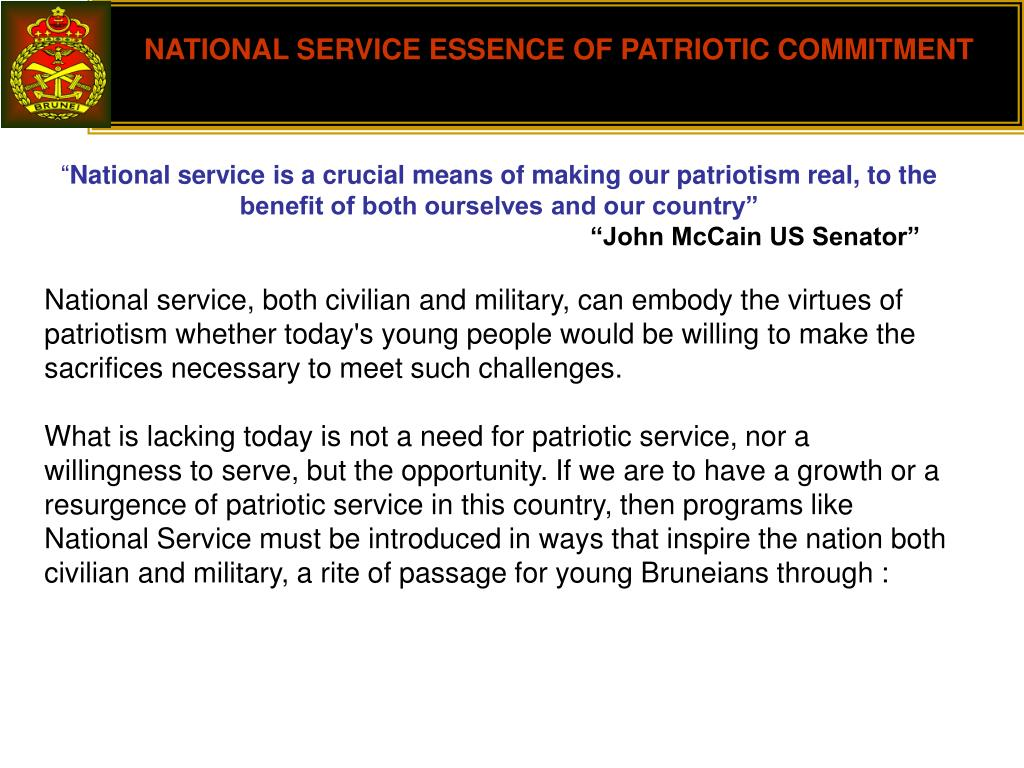 NATIONAL SERVICE ESSENCE OF PATRIOTIC COMMITMENT