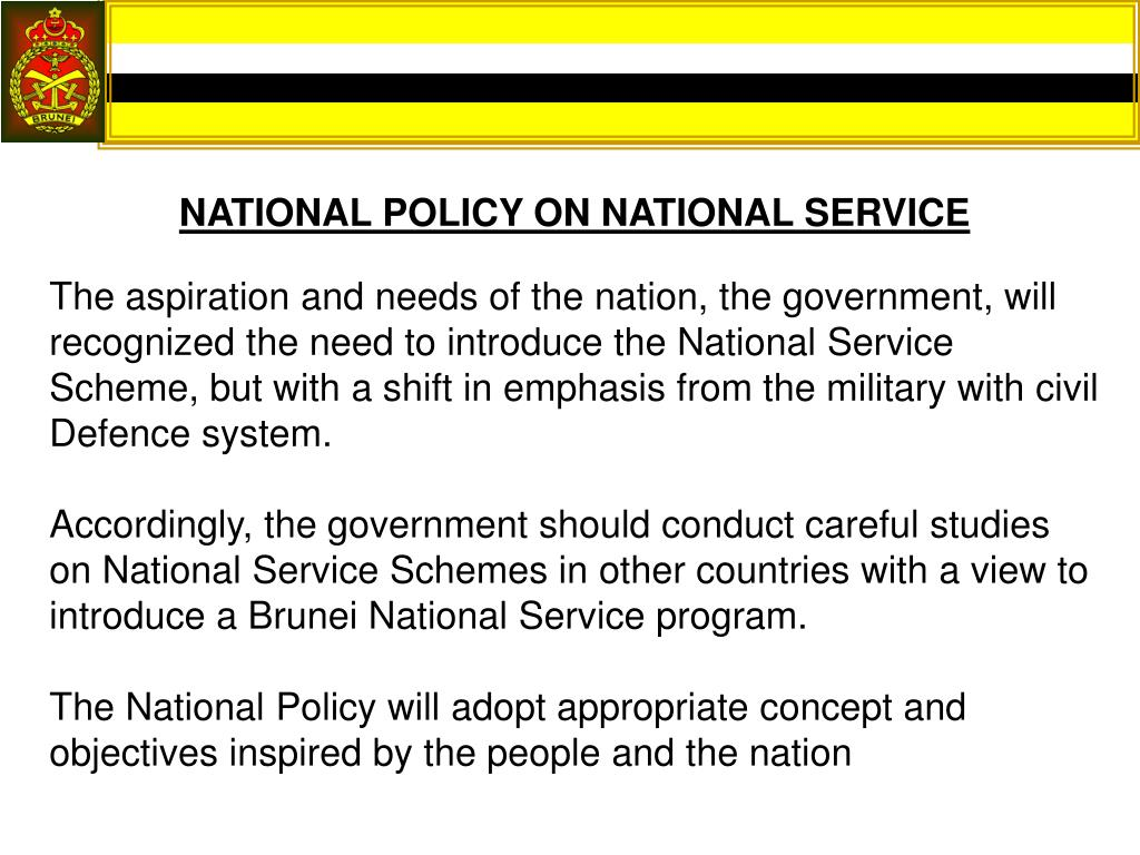 NATIONAL POLICY ON NATIONAL SERVICE