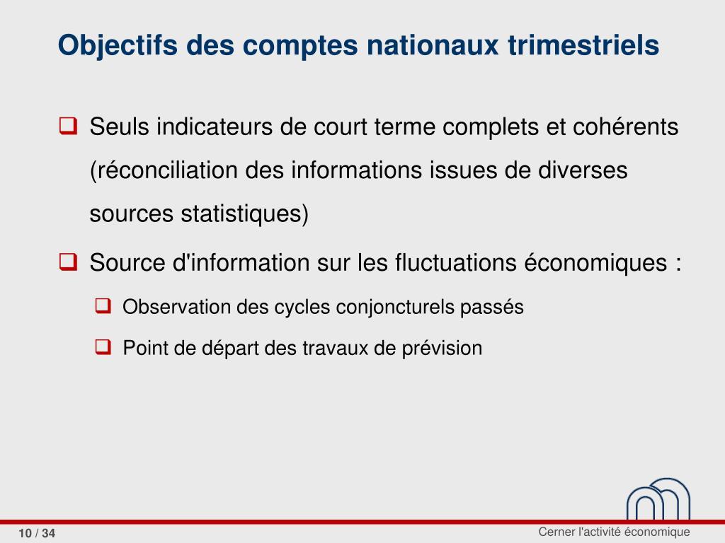 Objectifs des comptes nationaux trimestriels