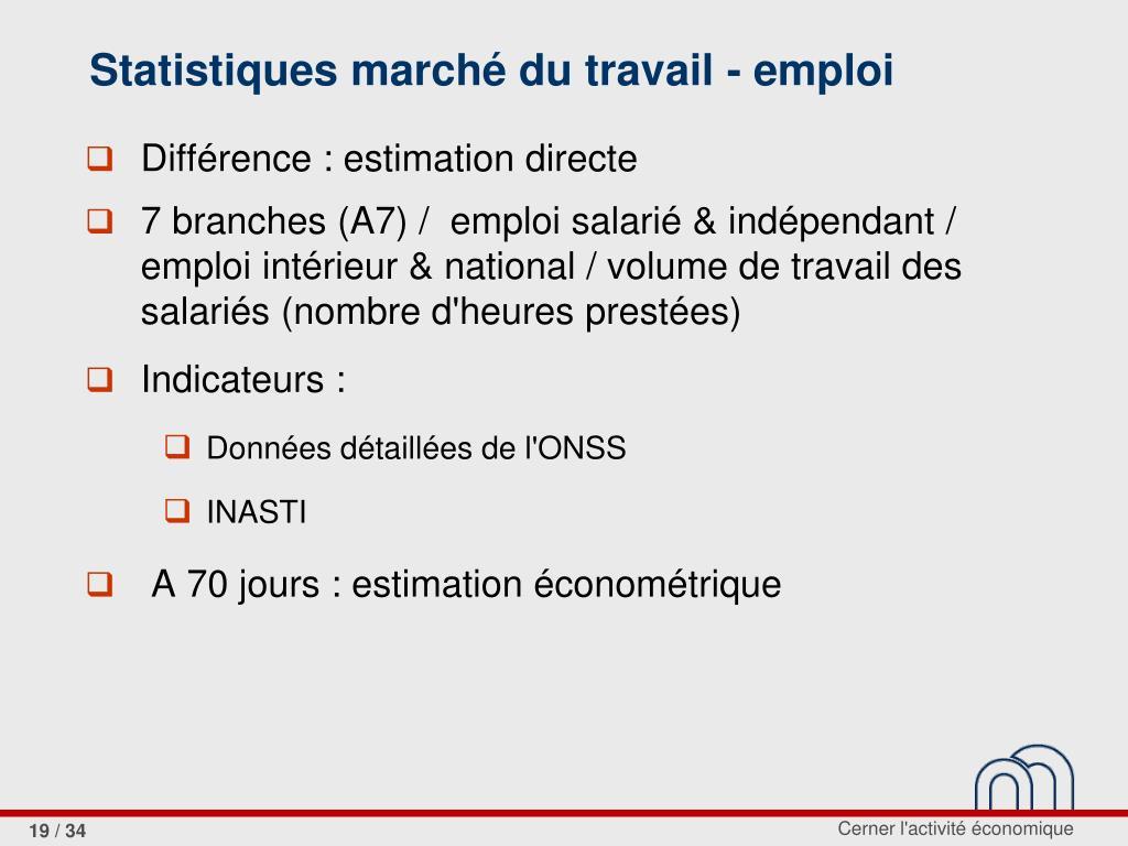Statistiques marché du travail - emploi