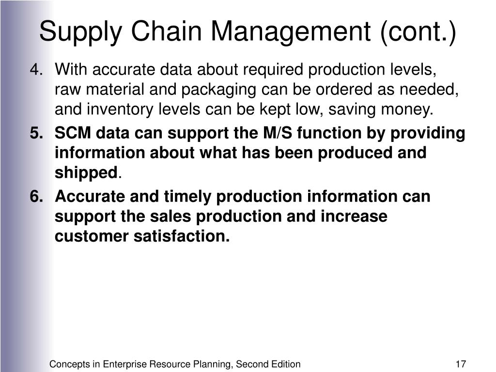Supply Chain Management (cont.)