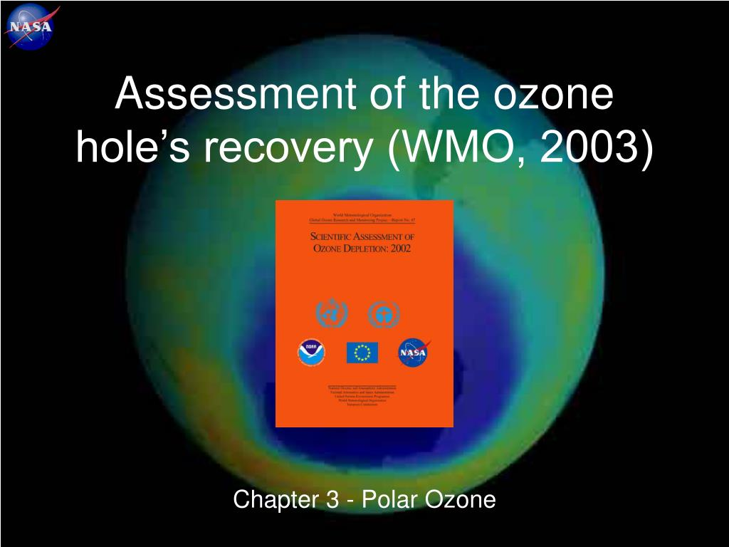 Assessment of the ozone hole's recovery (WMO, 2003)