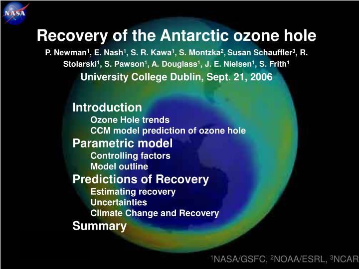 Recovery of the Antarctic ozone hole