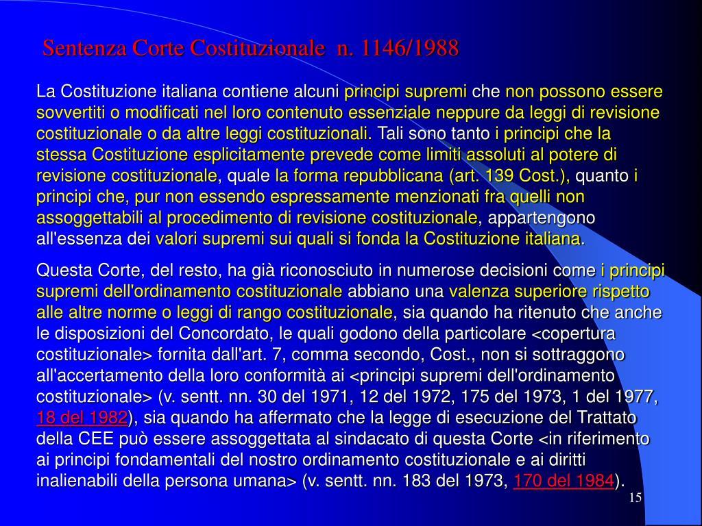 Sentenza Corte Costituzionale  n. 1146/1988