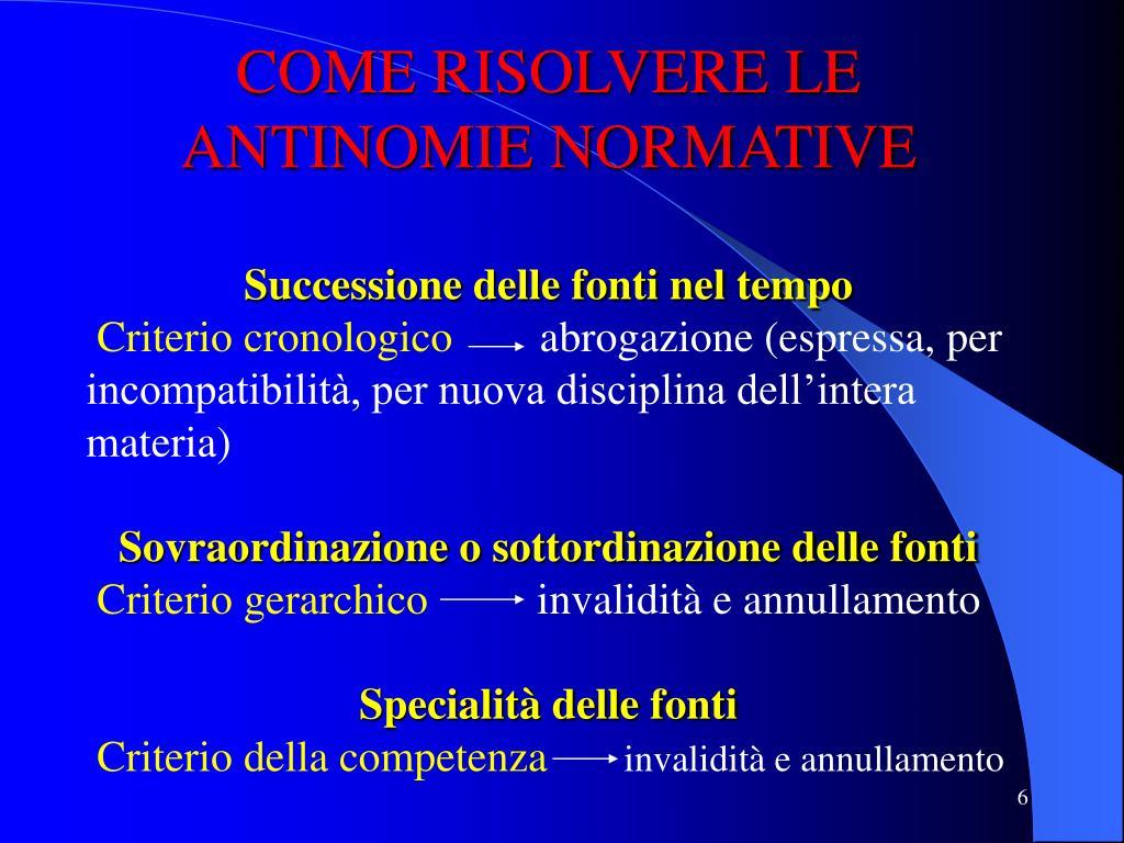 COME RISOLVERE LE ANTINOMIE NORMATIVE