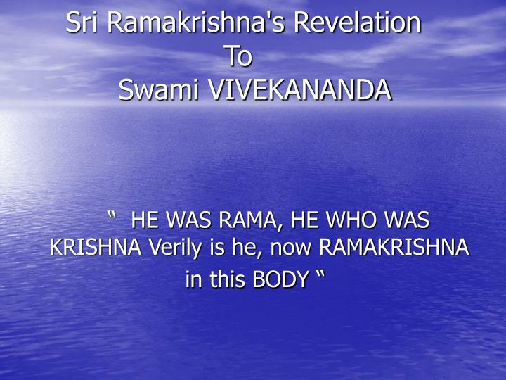 Sri Ramakrishna's Revelation