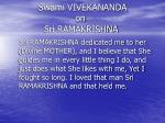 swami vivekananda on sri ramakrishna