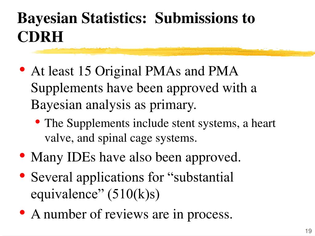 Bayesian Statistics:  Submissions to CDRH