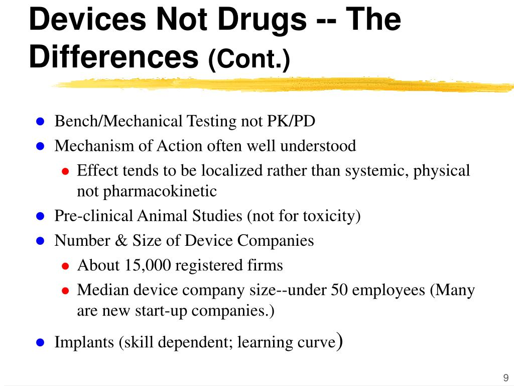 Devices Not Drugs -- The Differences