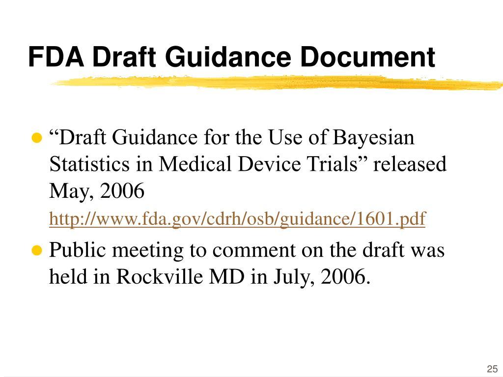 FDA Draft Guidance Document