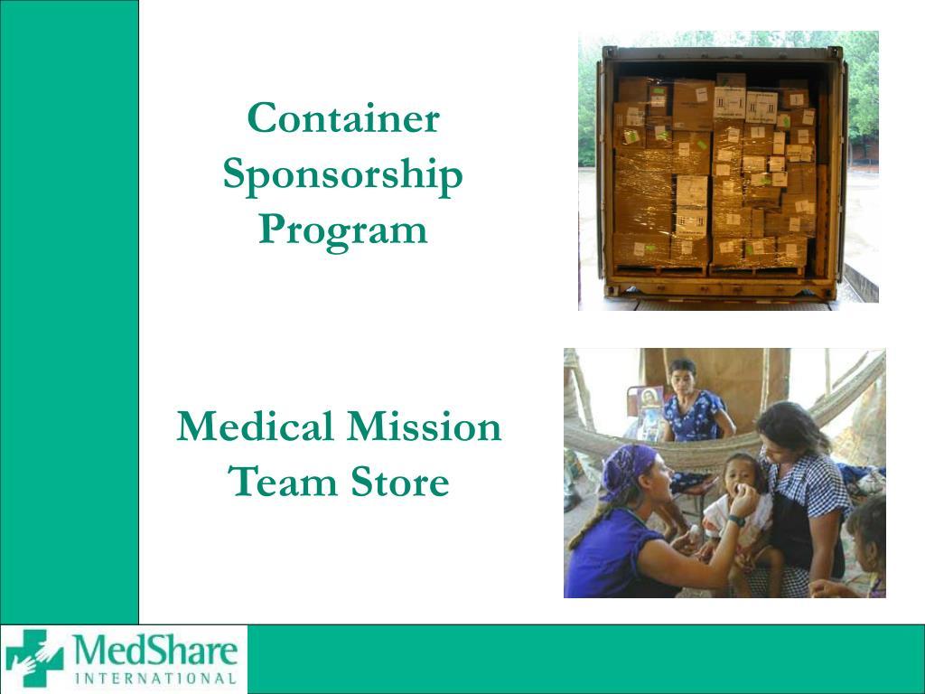 Container Sponsorship Program