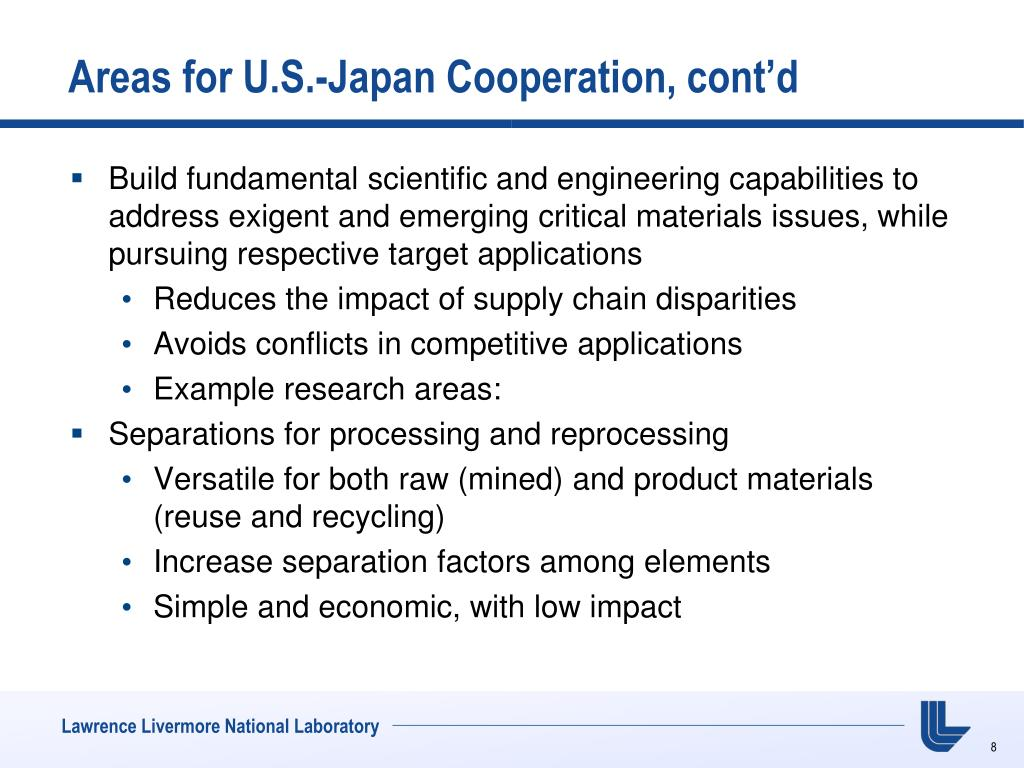 Areas for U.S.-Japan Cooperation, cont'd
