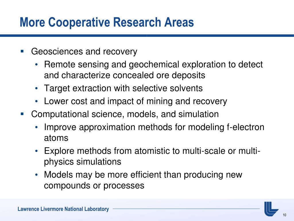 More Cooperative Research Areas