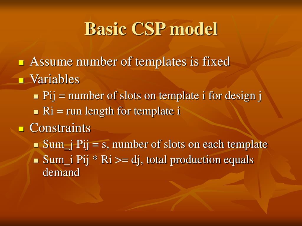 Basic CSP model