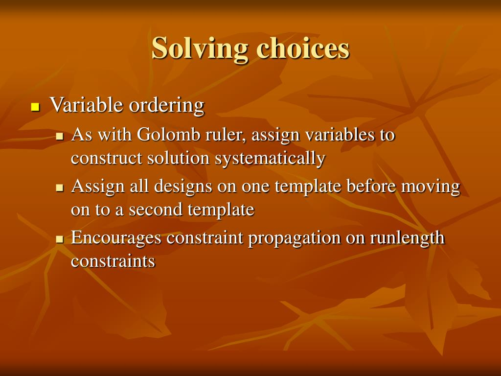 Solving choices