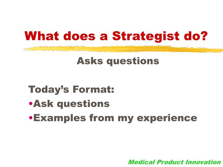 What does a strategist do
