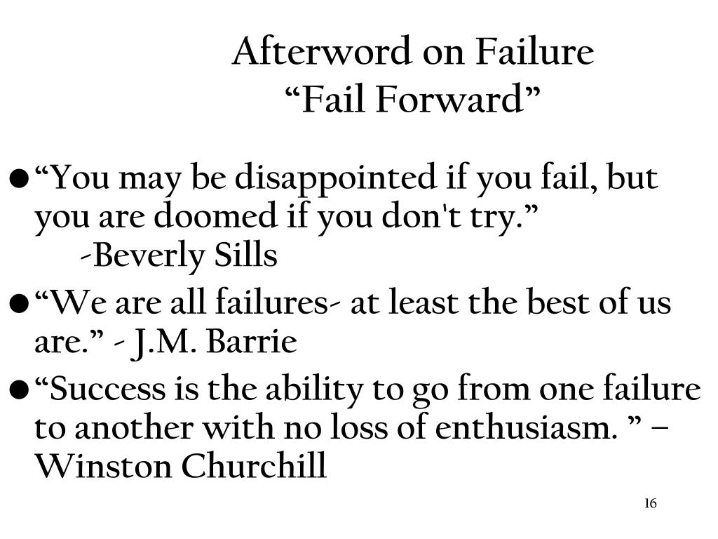 Afterword on Failure
