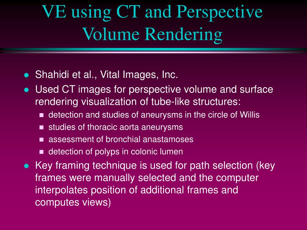 VE using CT and Perspective Volume Rendering