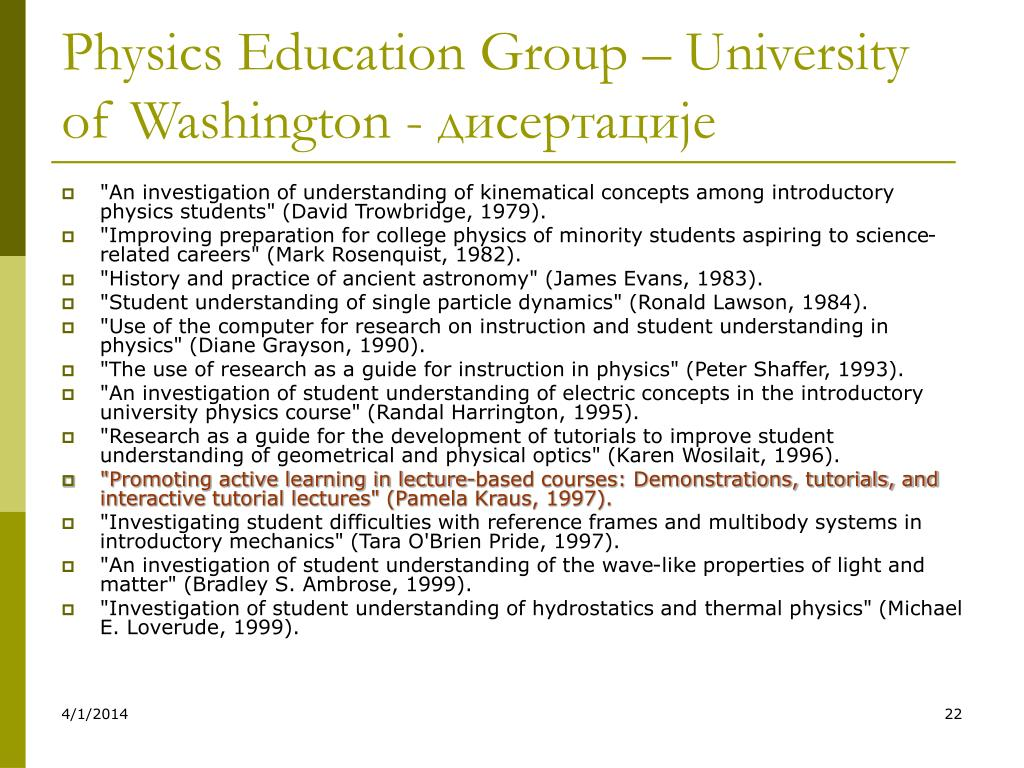 Physics Education Group – University of Washington