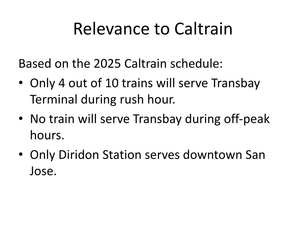 Relevance to Caltrain