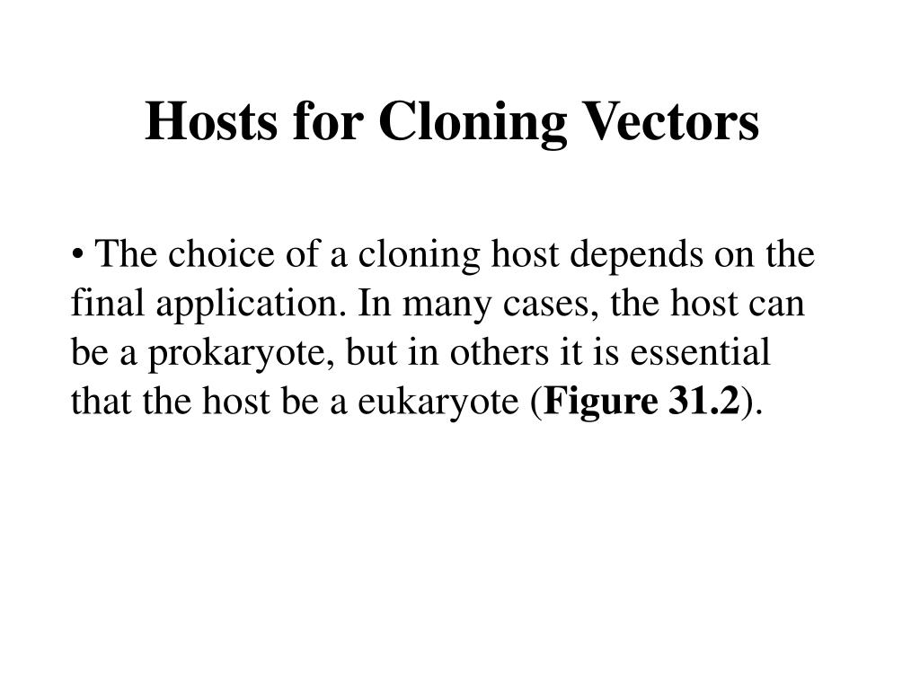 Hosts for Cloning Vectors