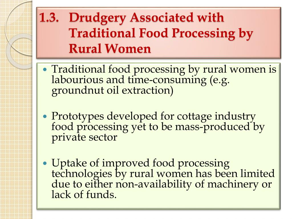 1.3.  Drudgery Associated with Traditional Food Processing by Rural Women