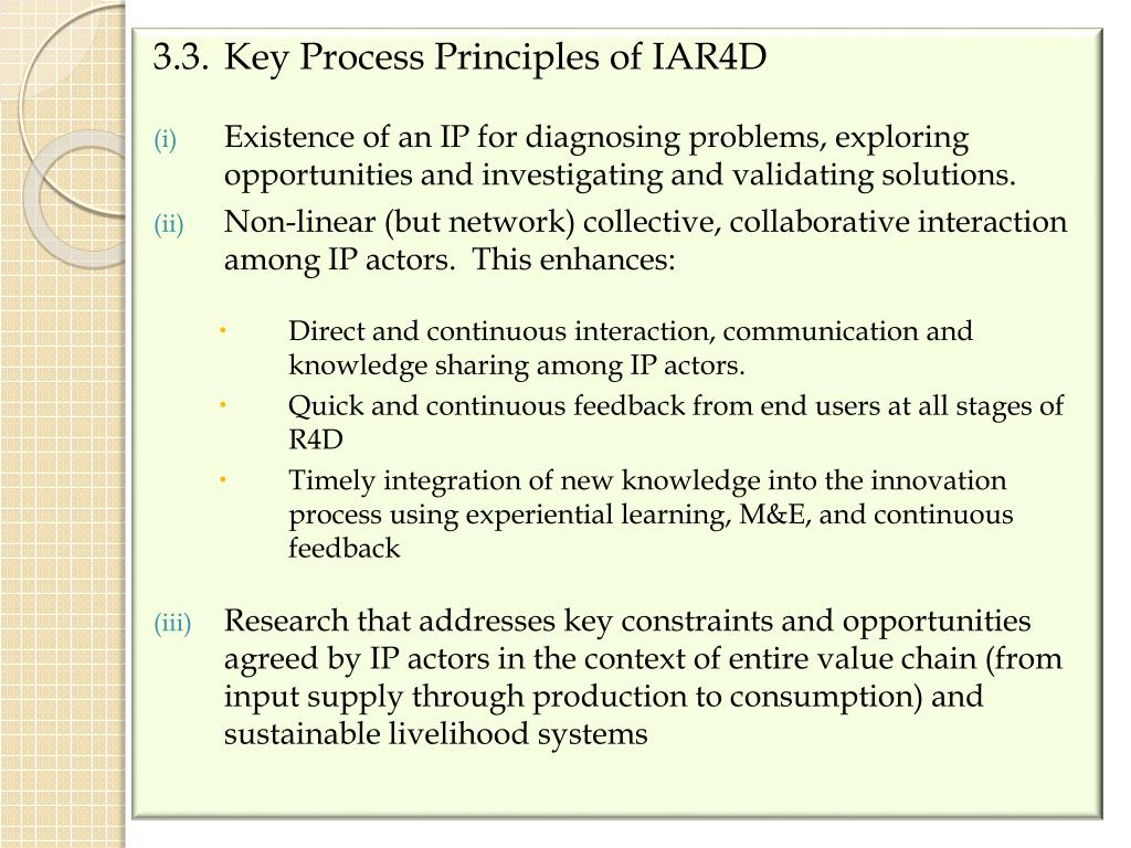 3.3.Key Process Principles of IAR4D