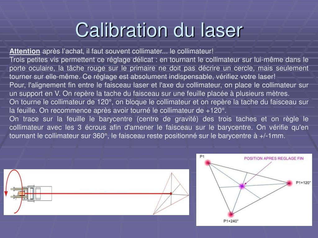 Calibration du laser