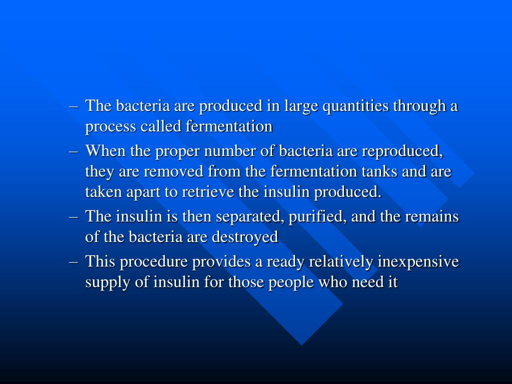 The bacteria are produced in large quantities through a process called fermentation