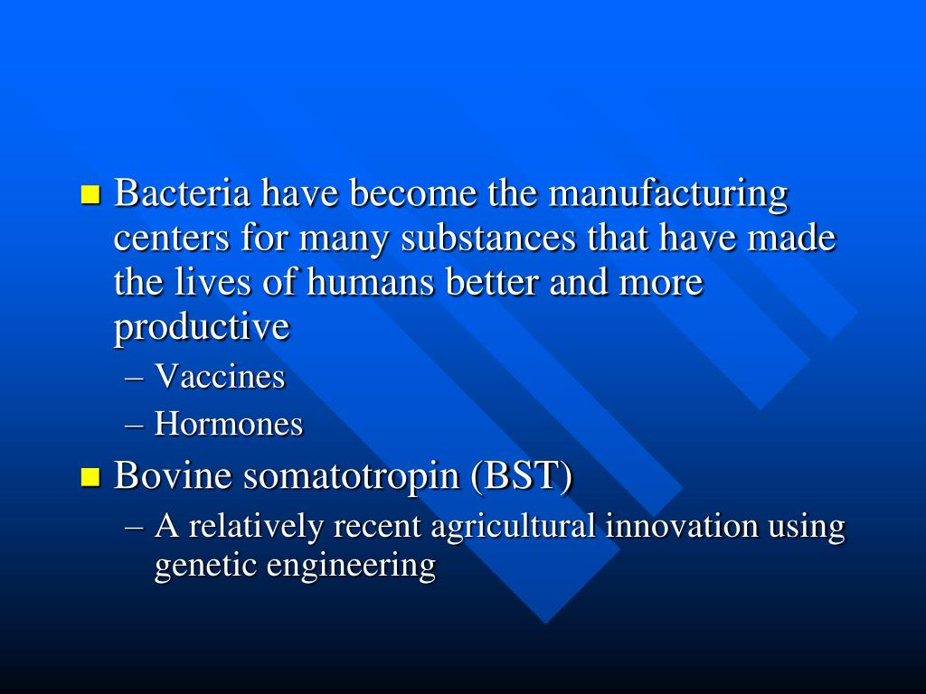 Bacteria have become the manufacturing centers for many substances that have made the lives of humans better and more productive