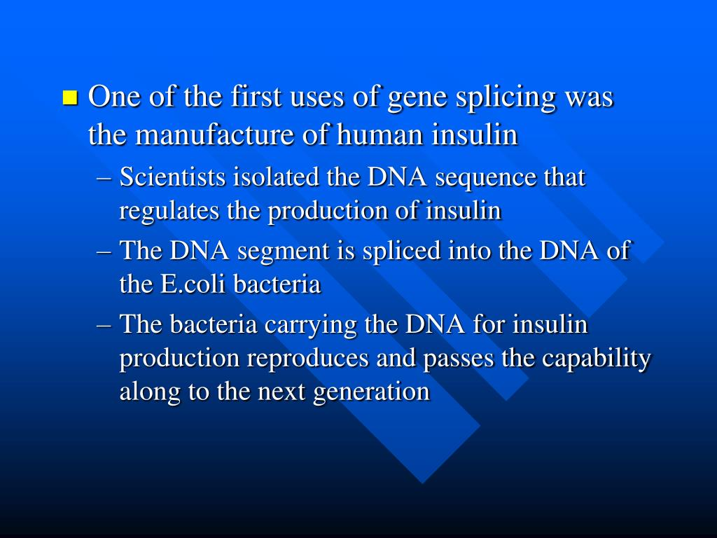 One of the first uses of gene splicing was the manufacture of human insulin