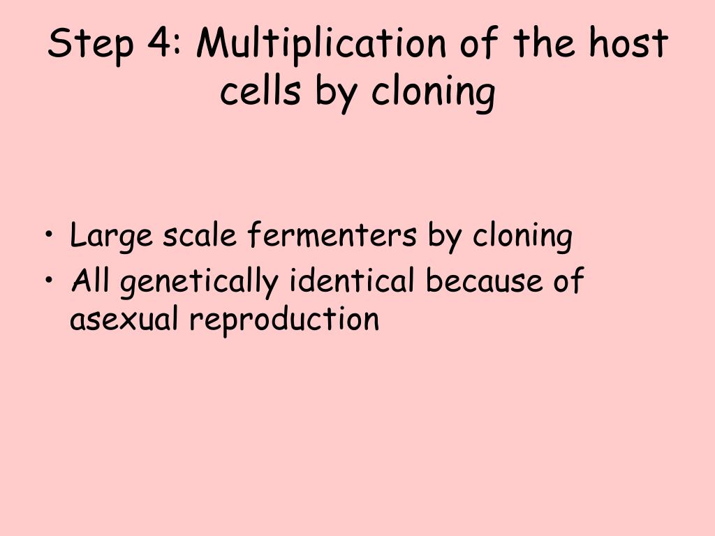 Step 4: Multiplication of the host cells by cloning