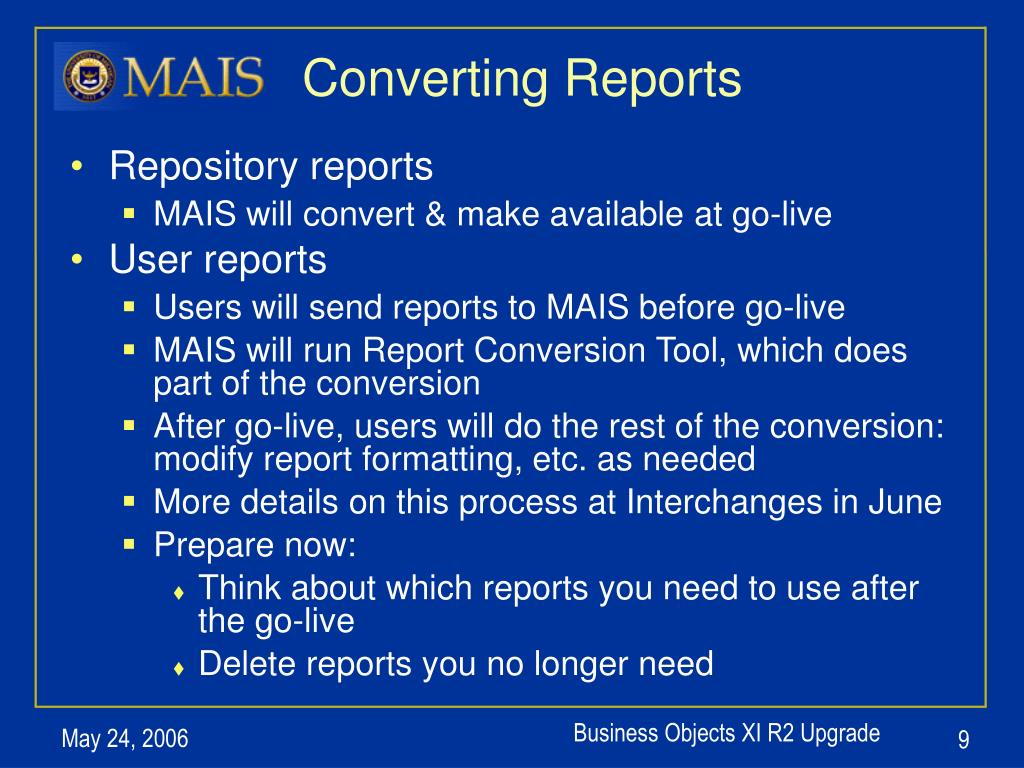 Converting Reports