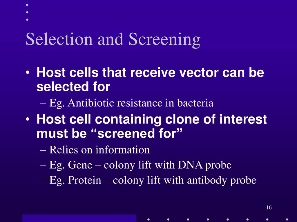 Selection and Screening