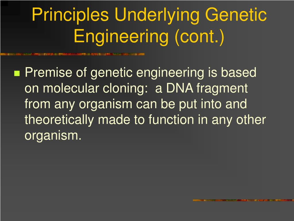 Principles Underlying Genetic Engineering (cont.)