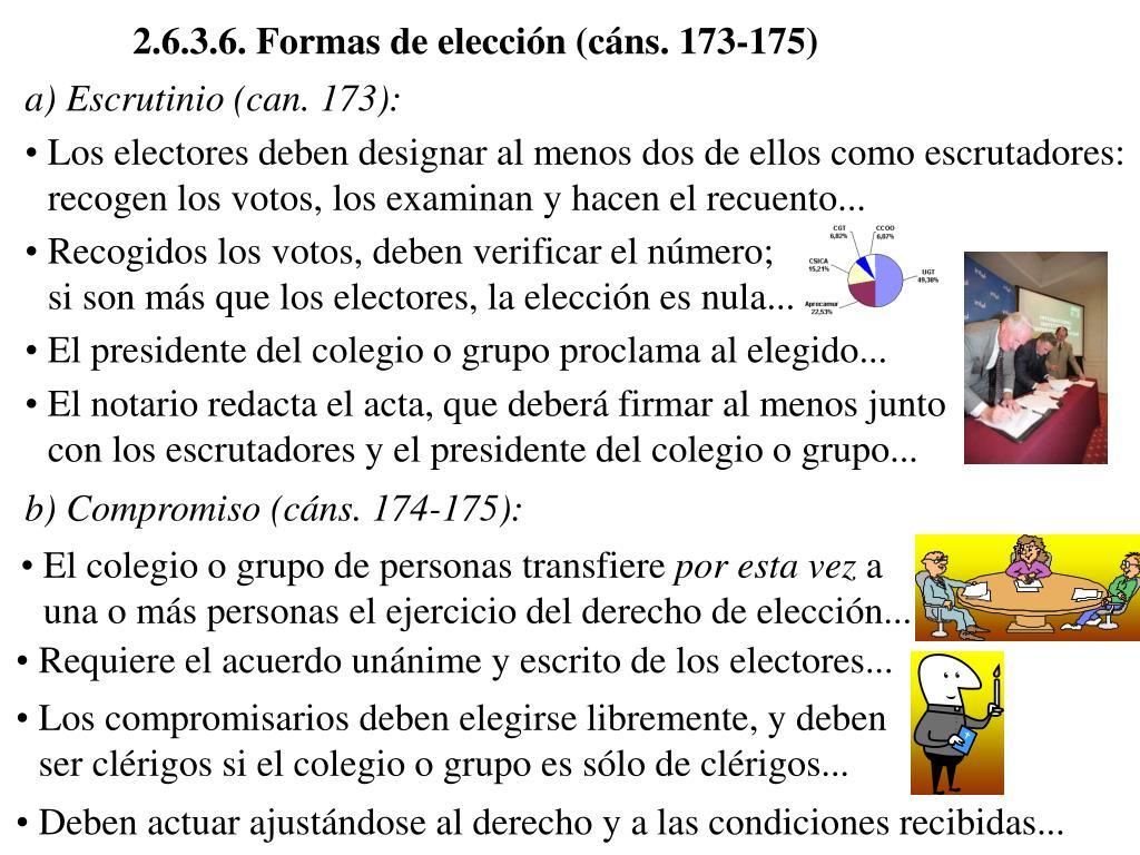 2.6.3.6. Formas de elección (cáns. 173-175)