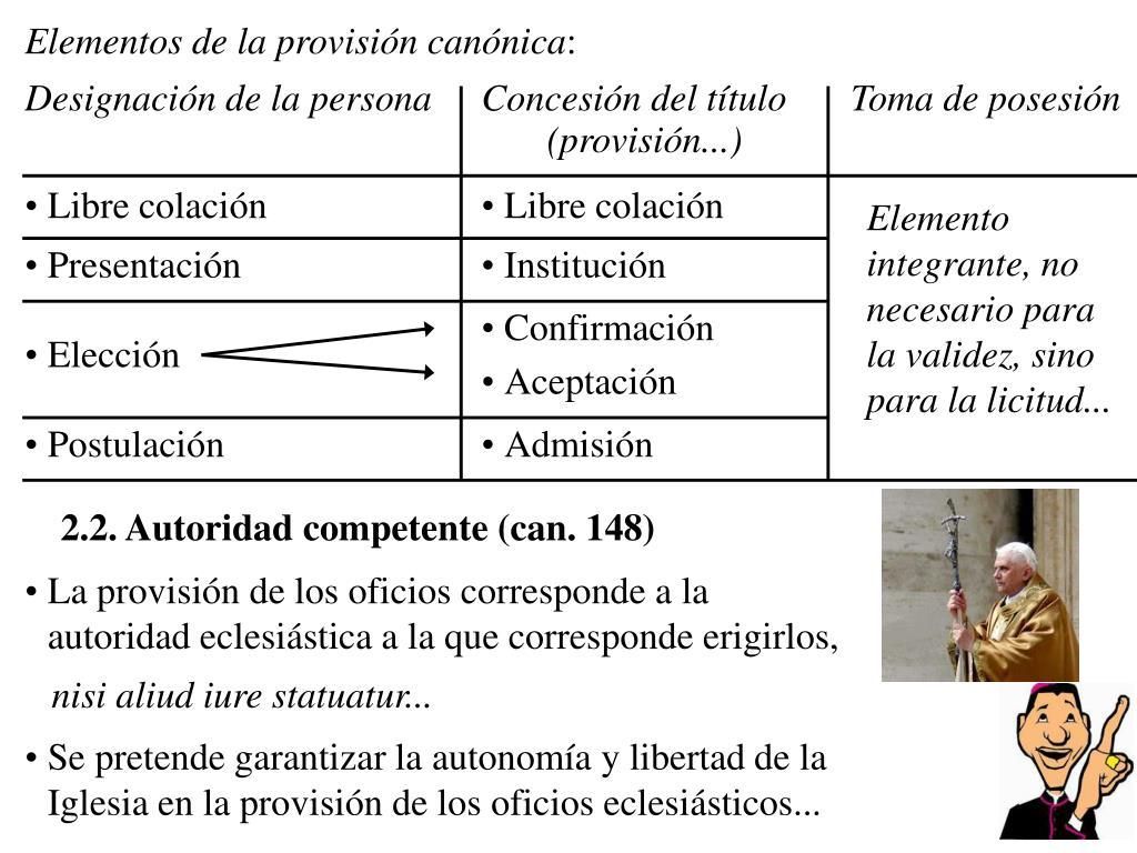 Elementos de la provisión canónica